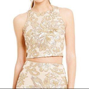Badgley Mischka Womens Blouse 12 Gold Crop Sequins